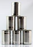 Fem staplade tenn- cans Fotografering för Bildbyråer