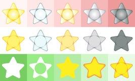 fem stjärnor inställda symboler Arkivfoton