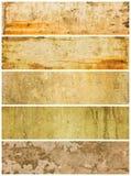 fem texturerade grungepaneler Arkivbilder