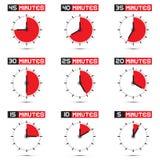 Fem till fyrtiofem minuter stoppurillustration Arkivbilder