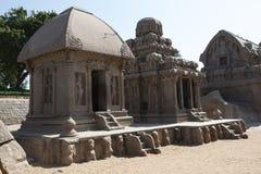 Fem tjaller templet, Mamallapuram, Indien Royaltyfria Bilder