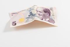 Fem turkiska Liras för vit bakgrund Arkivfoton