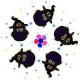 Fem ugglahattar också vektor för coreldrawillustration halloween Royaltyfri Bild