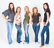 fem unga posera kvinnor royaltyfri foto