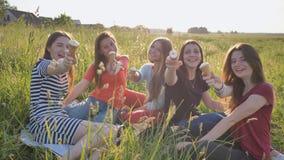 Fem unga skolflickor äter och visar glass på ängen på en varm sommardag arkivbild