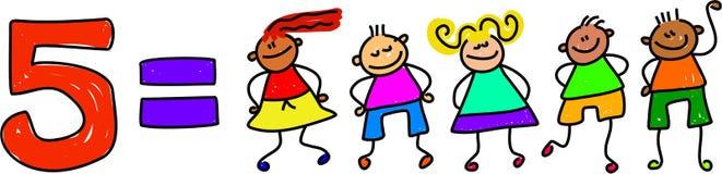 fem ungar stock illustrationer