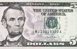Fem US dollar sedelcloseup Royaltyfri Fotografi