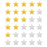 fem värderingsstjärnor Arkivbild