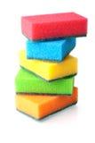 Fem vertikala färgsvampar Arkivbilder