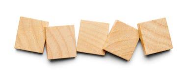 Fem Wood tegelplattor Fotografering för Bildbyråer