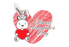 Femail Rabbit with Red Heart Stock Images