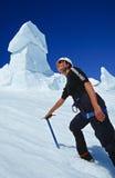 Femal在Mt. Raineer的登山人培训 库存图片