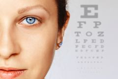 Femal face with blue eye with test chart on background royalty free stock photography