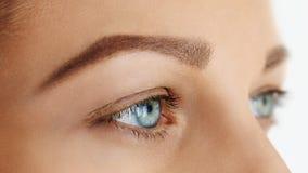 Femal hace frente con los ojos azules sin maquillaje imagen de archivo