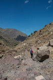 Femal trekker on Toubkal Stock Images
