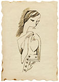 Female. Figure - Cubist theme - charcoal drawing Royalty Free Stock Image