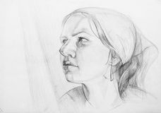 Female. Pencil drawings of  girl.  Academical art. I am the author of this drawing Royalty Free Stock Image