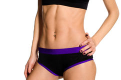 Female abdominals. With muscular press Royalty Free Stock Images