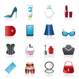 Female accessories and clothes icons Stock Images