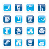 Female accessories and clothes icons Royalty Free Stock Image