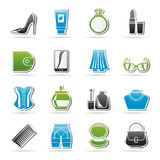 Female accessories and clothes icons Royalty Free Stock Photography