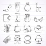 Female accessories and clothes icons Royalty Free Stock Photo