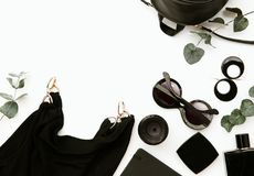 Female accessories. Flat Lay of essentials. For stylish young woman Stock Photo