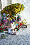 Montmarte Paris. A colourful female accordion player in Montmartre, performs for visitors and tourists vising the nearby Sacre Coeur basilica. Montmarte Paris stock photo