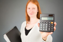 Female Accountant with a Calculator Stock Photography