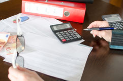 Female accountant checking financial documents Royalty Free Stock Image