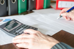 Female accountant checking financial documents Stock Image