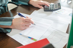Female accountant checking financial documents Royalty Free Stock Photos