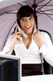 Female accountant communicating on phone Stock Images