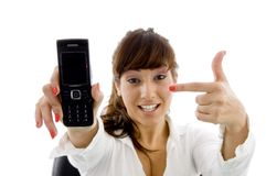 Female accountant pointing at her cell phone Stock Photography