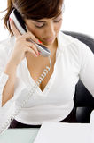 Female Accountant Talking On Cell Phone Royalty Free Stock Photos