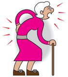 Female Aches and Pains. Older cartoon woman is suffering from various aches and pains Royalty Free Stock Photography