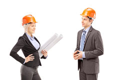 A female achitect and male investor having a meeting Stock Image