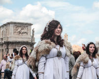 Female actors in Rome celebration Stock Photography
