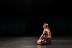 Female actress alone on stage Royalty Free Stock Images