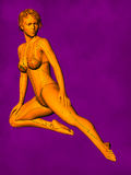Female Acupuncture Model GF-POSE Bwc-v5-02-3, 3D Illustration stock images