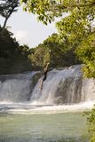 Adventure Traveller Jumping Off Waterfall In Belize Stock Photos