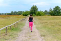 Female adult jogger running away from camera. Along unpaved road with wooden fence at one side and field on the other stock photography