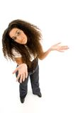 Female adult shrugging her shoulders Stock Photo