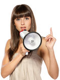 Female advertising into the megaphone Royalty Free Stock Photography