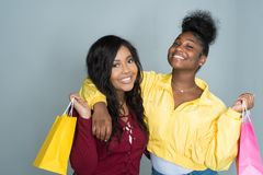 Female African American Friends. Group of young female friends spending time together Stock Images