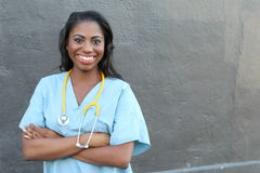 Female african american medical professional - Stock image with copy space Royalty Free Stock Photos