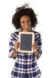 Female afro american with blank chalkboard Royalty Free Stock Photo