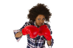 Female afro american with red boxing gloves Stock Photo