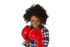 Female Afro American With Red Boxing Gloves Royalty Free Stock Images