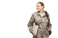 Female airman with books and bag Royalty Free Stock Image